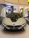 BMW i8. The premier of the BMW i8 in a up-scale shopping mall with scissor doors open Stock Photography
