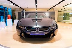 BMW i8 presented in BMW World showroom in Munich, Germany Stock Images