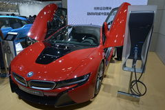 BMW i8 Protonic Red Edition electric sportscar Stock Photography