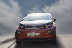 BMW i3 red car. BMW i3 red car on a blurred background stock photo