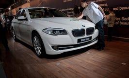 BMW 523i samochód przedstawiający na Tel Aviv Motorowym przedstawieniu obraz stock