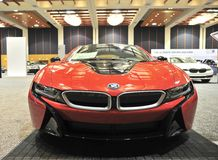 BMW I8 sportbil Front View Royaltyfri Fotografi