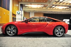 BMW I8 Sports Car at an Auto Show Royalty Free Stock Photo