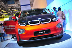 BMW i3 urban electric car on display at BMW World 2014 Stock Images