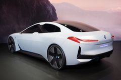 BMW i Vision Dynamics electric concepot car. FRANKFURT, GERMANY - SEP 13, 2017: BMW i Vision Dynamics electric concept car debut at the Frankfurt IAA Motor Show Stock Photography