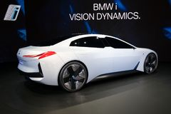 BMW i Vision Dynamics electric concept car. FRANKFURT, GERMANY - SEP 13, 2017: BMW i Vision Dynamics electric concept car at the Frankfurt IAA Motor Show Royalty Free Stock Photo