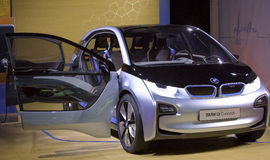 BMW i3 - The BMW i3 Concept is shown. At the BMW Bryant Park New York Show Room, the BMW i3 and BMW i8 Concept vehicles were unveiled. A dazzling reveal and Royalty Free Stock Image