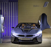BMW i8 - The BMW i8 Concept is shown. At the BMW Bryant Park New York Show Room, the BMW i3 and BMW i8 Concept vehicles were unveiled. A dazzling reveal and Royalty Free Stock Image