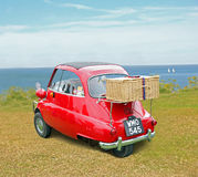 Bmw isetta coast picnic Royalty Free Stock Photos