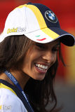 BMW Italia GoldBet Nice umbrella girl. On 2012 Imola Rounf of World Superbike Championship Stock Photo