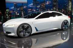 BMW iVision Dynamics electric car. FRANKFURT, GERMANY - SEP 12, 2017: BMW i Vision Dynamics electric concept car debut at the Frankfurt IAA Motor Show 2017 Royalty Free Stock Photos