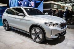 BMW iX3 electric SUV car. PARIS - OCT 2, 2018: BMW iX3 electric SUV car showcased at the Paris Motor Show stock image