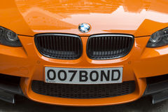 BMW with license plate 007 Bond Royalty Free Stock Photo