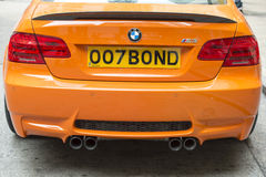 BMW with license plate 007 Bond Royalty Free Stock Photography