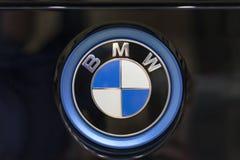 BMW logo on the back of the car. BELGRADE, SERBIA - MARCH 25, 2017: BMW logo on the back of the car at Belgrade car show Stock Photos
