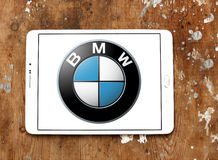 Bmw logo. Logo of bmw car brand on samsung tablet royalty free stock image