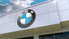 BMW logo on the modern building facade. Editorial 3D rendering Stock Photo