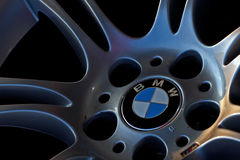 Bmw logo on the wheel. Of car 525 royalty free stock photography