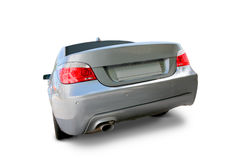 BMW Luxury car. BMW 5 Series Sedan Luxury car back view - includes separate clipping paths and realistic shadows royalty free stock photo