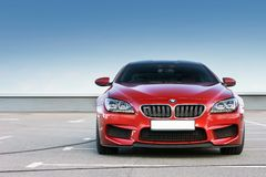 Kiev, Ukraine; June 25, 2013; BMW M6 against the clear sky. The car is on the right stock image
