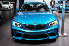 A BMW M2 Coupe exhibit at the 2016 New York International Auto S. NEW YORK - March 23: A BMW M2 Coupe exhibit at the 2016 New York International Auto Show during Stock Image