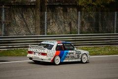 BMW M3 E30 DTM汽车测试在蒙扎 图库摄影