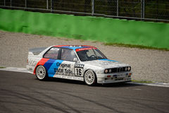 BMW M3 E30 DTM car test at Monza. This classic BMW of the Schnitzer team was originally driven by Altfrid Heger in the 1991 Deutsche Tourenwagen Masters Stock Photography