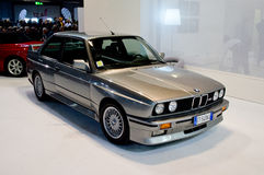 BMW M3 E30 at Milano Autoclassica 2016. A silver BMW M3 E30 in the BMW area during the classic car expo Milano Autoclassica 2016 exposed to celebrate the 100th Royalty Free Stock Images