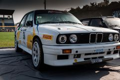 BMW M3 E30 1987 old racing car rally THE LEGEND 2017 the famous SAN MERINO historical rac. SAN MARINO, SAN MARINO - OTT 21 : old racing car rally THE LEGEND 2017 Royalty Free Stock Photos