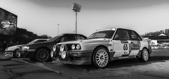 BMW M3 E30 1987 old racing car rally THE LEGEND 2017 the famous SAN MERINO historical rac. SAN MARINO, SAN MARINO - OTT 21 : old racing car rally THE LEGEND 2017 Royalty Free Stock Image