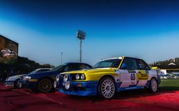 BMW M3 E30 1987 old racing car rally THE LEGEND 2017 the famous SAN MERINO historical rac. SAN MARINO, SAN MARINO - OTT 21 : old racing car rally THE LEGEND 2017 Royalty Free Stock Images