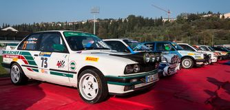 BMW M3 E30 1989 old racing car rally. SAN MARINO, SAN MARINO - OTT 21 : old racing car rally THE LEGEND 2017 the famous SAN MARINO historical race Stock Image