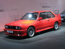 BMW M3 E30. The BMW M3 E30 Strasse version exposed in the motorsport gallery in the BMW museum in Munchen. From this sporty coupe' were derived the Gr.A version Stock Images