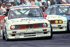 BMW M3. 2 factory works BMW M3 E30 race cars compete at the Wellington Street race ( Nissan Mobil 500 ) in New Zealand Stock Photos