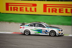 BMW M3 GT4 samochodowy ścigać się przy Monza Zdjęcia Royalty Free