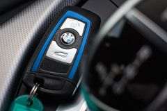 BMW M235i Car Key on May 15 2014 in Hong Kong. Stock Photography