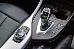 BMW M235i Gear Box Stick on May 15 2014 in Hong Kong. Royalty Free Stock Photos