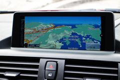 BMW M235i GPS Screen Royalty Free Stock Photography
