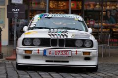 BMW M3 oldtimer car. Augsburg, Germany - October 1, 2017: BMW M3 oldtimer car at the Fuggerstadt Classic 2017 Oldtimer Rallye on October 1, 2017 in Augsburg Stock Photos