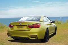 Bmw m4 sportscar. Photo of a high performance bmw m4 sportscar on display at whitstable car show 23rd july 2017 Royalty Free Stock Photos