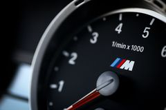 BMW M3 tachometer. Bucharest, Romania - July 4, 2013: Detail of the tachometer of a BMW M3 car. The BMW M3 is a high-performance version of the BMW 3-Series Stock Images