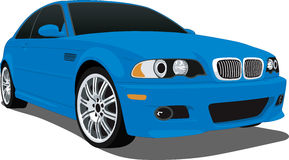Bmw M3 Blue. A Vector .eps illustration of a BMW M3. Saved in layers for easy editing. See my portfolio for more automotive images royalty free illustration