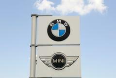 BMW and Mini Car dealership Sign. Stock Image