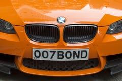 BMW mit Kfz-Kennzeichen 007 Bindung Lizenzfreies Stockfoto