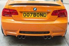BMW mit Kfz-Kennzeichen 007 Bindung Lizenzfreie Stockfotografie