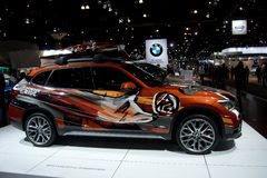 BMW X model Powder Ride. Side view on showroom floor Stock Photo