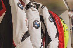 BMW motorbike suit on display at EICMA 2014 in Milan, Italy Royalty Free Stock Photos