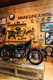 BMW Motorcycle in Booth BMW Motorrad. Royalty Free Stock Photography