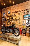 BMW Motorcycle in Booth BMW Motorrad. Royalty Free Stock Photo