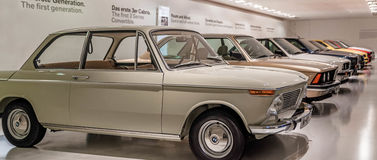 BMW Museum – SEPTEMBER 18: Vintage car display at BMW museum: Motor Show on September 18, 2016 in Munich Germany Royalty Free Stock Images